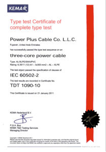 Type Test Certificate - 11kV Multi core - Aluminium Cable