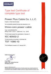 Type Test Certificate - 11kV Multi core - Aluminium Cable