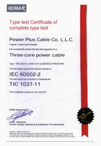 Type Test Certificate of complete type test- 33kV Multi core