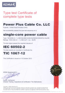 Type Test Certificate of complete type test- 33kV Single core